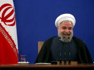 Iranian President Hassan Rouhani has much to laugh about.