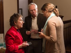 EVANSTON, IL - NOVEMBER 20: Representative Jan Schakowsky, Robert Creamer and Executive Director of MoveOn.org Civic Action Anna Galland attend as Syrian refugees and community leaders join together for a #RefugeesWelcome Thanksgiving dinner hosted by MoveOn.org on November 20, 2015 in Evanston, Illinois.