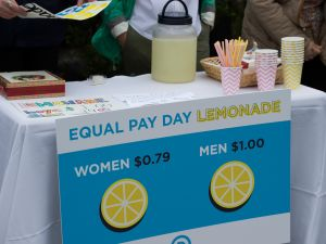 "In April, DNC women hosted an Equal Pay Day event with a lemonade stand ""where women pay 79 cents per cup and men pay $1 per cup, to highlight the wage gap."""