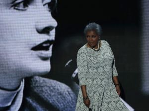 Interim chair of the Democratic National Committee, Donna Brazile walks on stage to deliver remarks the second day of the Democratic National Convention at the Wells Fargo Center, July 26, 2016 in Philadelphia, Pennsylvania.