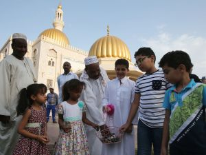 Muslim children outside a mosque in the Omani capital Muscat.