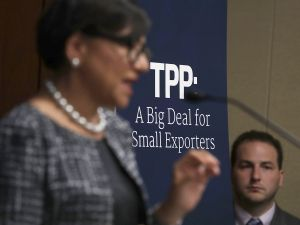 U.S. Secretary of Commerce Penny Pritzker speaks during a discussion on the Trans-Pacific Partnership (TPP) September 26, 2016 on Capitol Hill in Washington, DC.