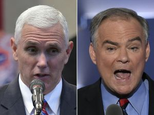 Republican Vice Presidential nominee and running mate Mike Pence (L) speaking during the Midwest Vision and Values Pastors and Leadership Conference at the New Spirit Revival Center in Cleveland Heights, Ohio on September 21, 2016, and US Democratic Nominee for Vice President Tim Kaine speaking during the Democratic National Convention at the Wells Fargo Center in Philadelphia, Pennsylvania, July 27, 2016. After a dramatic week of beauty queens, sex tape allegations and tax document leaks, the upcoming US vice presidential debate could feel like a throwback to simpler times. Featuring low-key career politicians who are easily confused, the match-up between Democrat Tim Kaine and Republican Mike Pence in Farmville, Virginia likely won't exude the reality show vibes Americans have come to expect in the 2016 presidential election.