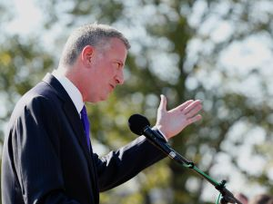 Mayor Bill de Blasio at ceremony unveiling plans and breaking ground for a new Statue of Liberty Museum.
