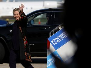 Democratic presidential nominee former Secretary of State Hillary Clinton arrives at Detroit Metropolitan Wayne County Airport on October 10, 2016 in Detroit, Michigan. A day after the second presidential debate in St. Louis, Hillary Clinton is campaigning in Michigan and Ohio.