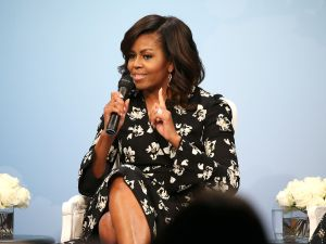 "WASHINGTON, DC - OCTOBER 11: First Lady of the United States Michelle Obama speaks during a panel discussion at Glamour Hosts ""A Brighter Future: A Global Conversation on Girls' Education"" with First Lady Michelle Obama at The Newseum on October 11, 2016 in Washington, DC."