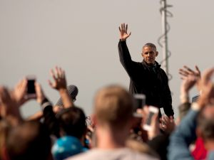 "President Barack Obama campaigns for Hillary Clinton at a ""Get Out the Early Vote"" rally at Cleveland Burke Lakefront Airport in Cleveland, Ohio on October 14, 2016. Early voting began on October 12 in Ohio."