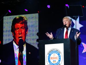 EDISON, NJ - OCTOBER 15: Republican presidential candidate Donald Trump speaks at the Republican Hindu Coalition's Humanity United Against Terror Charity event on October 15, 2016 at the New Jersey Convention & Expo Center in Edison, New Jersey. Trump also campaigned today in New Hampshire and Maine.