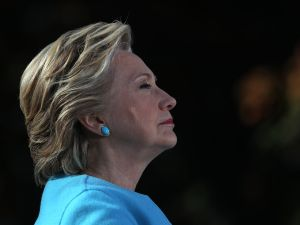Democratic presidential nominee former Secretary of State Hillary Clinton looks on during a campaign rally at Saint Anselm College on October 24, 2016 in Manchester, New Hampshire. With just over two weeks to go until the election, Hillary Clinton is campaigning in New Hampshire.