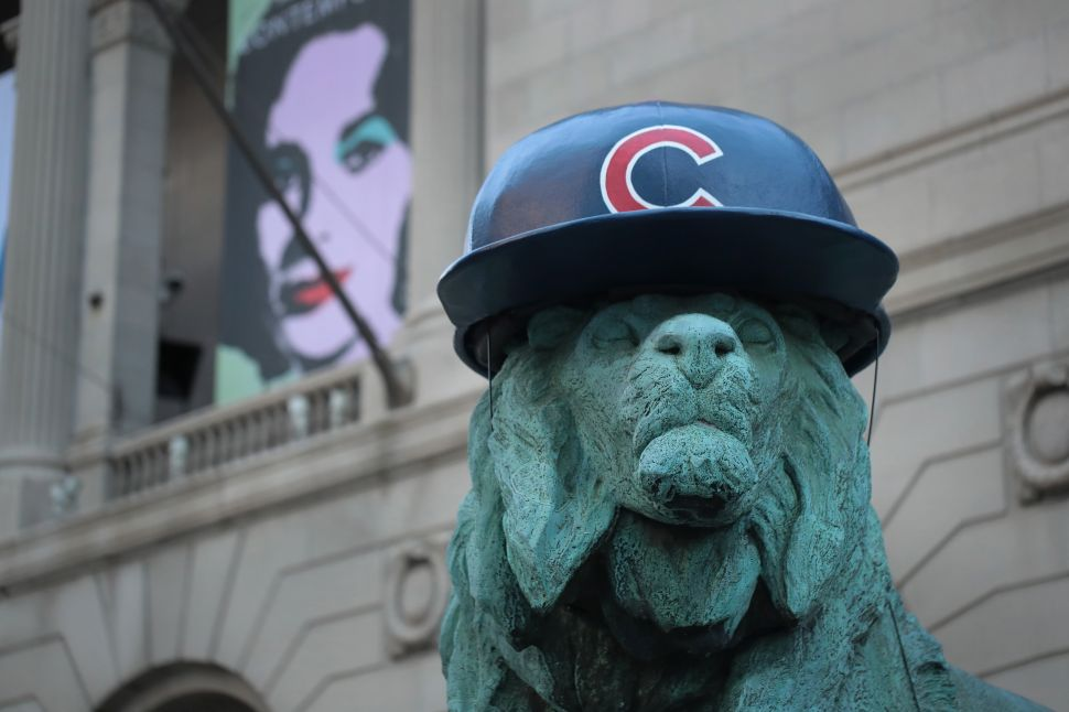 Art Institute Lions Don Chicago Cubs Hats, 600 Women Artists Pose for Group Photo