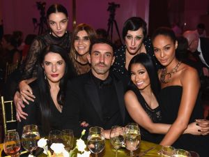 Riccardo Tisci with Marina Abramovic, Mariacarla Boscono, Carine Roitfeld, Ladyfag, Nicki Minaj, and Joan Smalls.