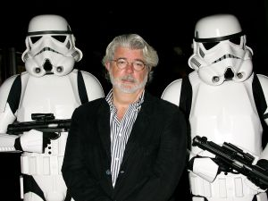 """HOLLYWOOD - OCTOBER 03: ***EXCLUSIVE ACCESS*** Director George Lucas presents the film """"Star Wars - Episode IV: A New Hope"""" at AFI's 40th Anniversary celebration presented by Target held at Arclight Cinemas on October 3, 2007 in Hollywood, California."""