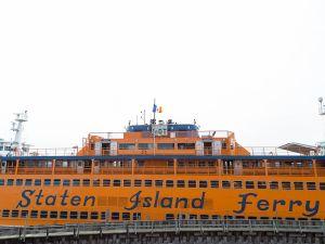 Staten Island Ferry docked at Staten Island Terminal.
