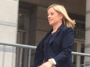 Bridget Kelly exits the Newark Federal Courthouse in October, 2016.
