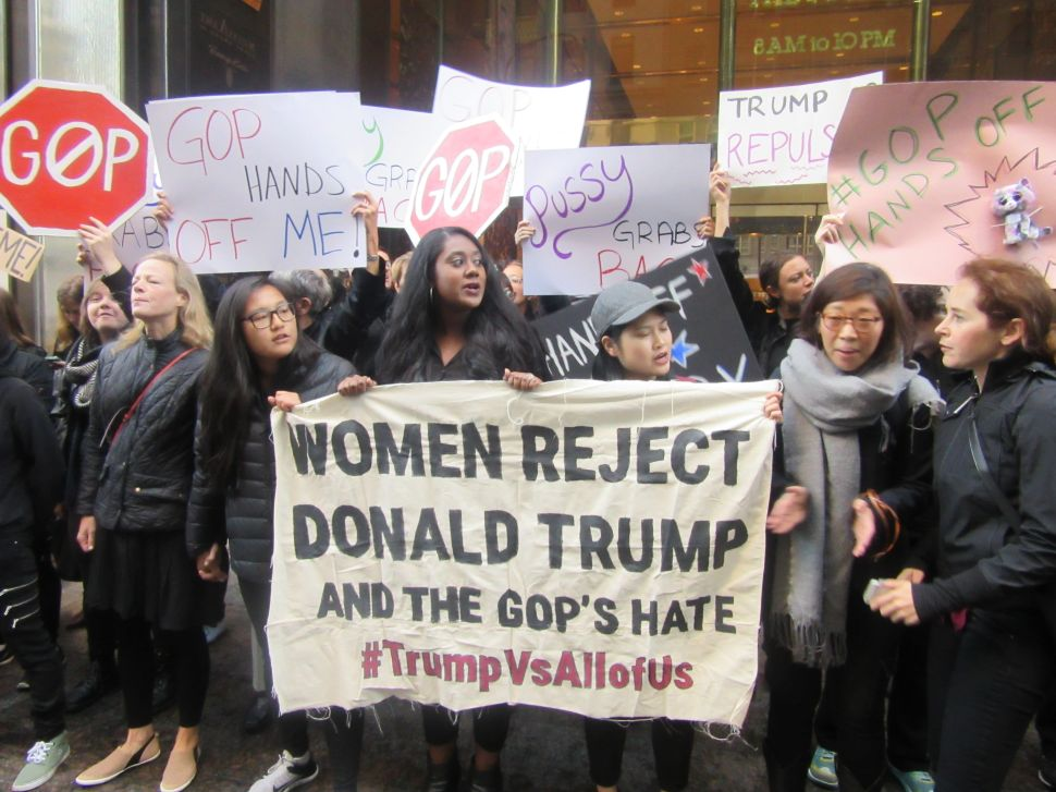 Women Blast 'Sexist GOP' and 'Sexual Predator' Donald Trump Outside Trump Tower