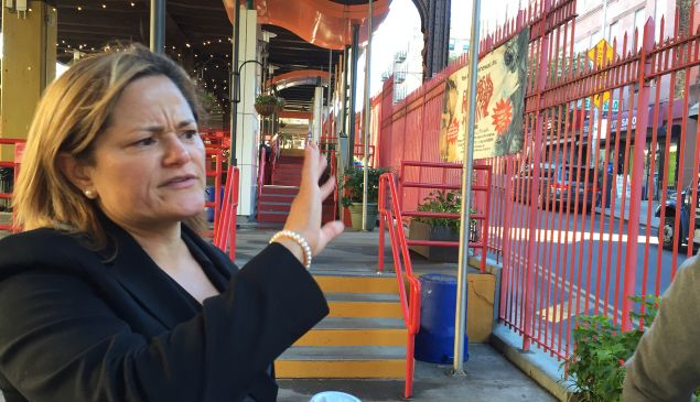 Council speak Melissa Mark-Viverito at La Marqueta, in the heart of her East Harlem district.