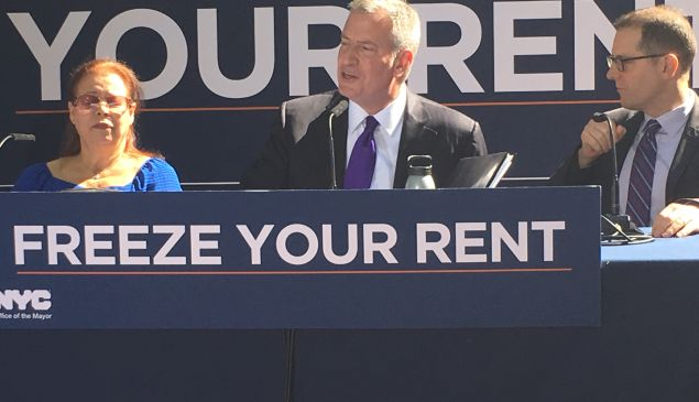 Mayor Bill de Blasio discusses the city's rent freeze program.