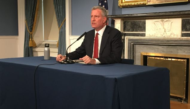 Mayor Bill de Blasio speaks about the fatal shooting of a 66-year-old emotionally disturbed woman in the Bronx by a police officer at City Hall.
