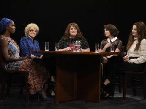 Sasheer Zamata, Kate McKinnon, Aidy Bryant, Cecily Strong and Margot Robbie on Saturday Night Live.