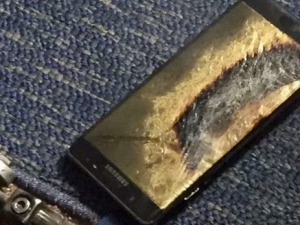 An exploded Galaxy Note 7.