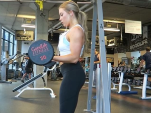 Katie Crewe in the gym.