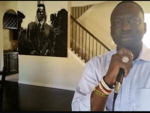 Yusef Salaam, one of five men wrongly convicted and imprisoned in the 1989 Central Park jogger case, speaks during a Facebook Live chat.
