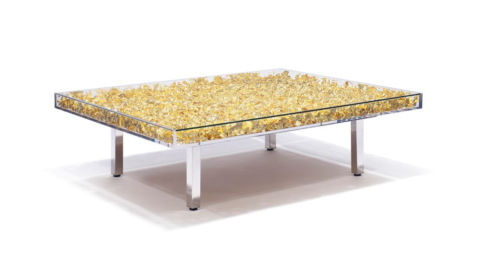 This Cocktail Table Is Filled With 3,000 Sheets of Gold Leaf