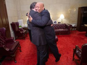 Gov. Andrew Cuomo and Assembly Speaker Carl Heastie embrace after cutting a deal on ethics reforms in 2015.