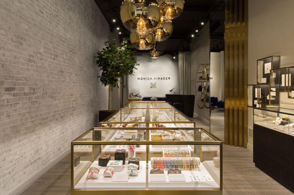 Even the Light Fixtures in Monica Vinader's New Soho Store Are Gold