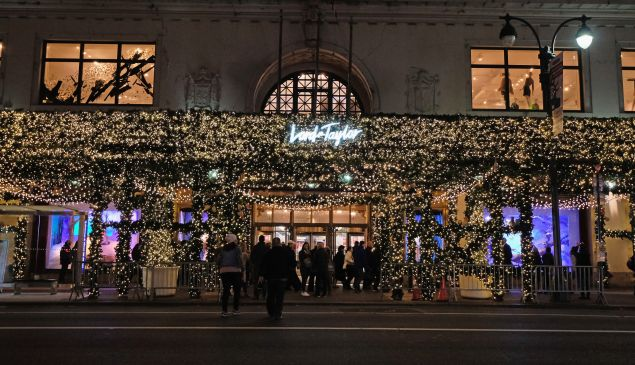 The Lord & Taylor building decorated for the holidays.