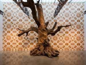 "Ai Weiwei's 25-foot piece ""Tree"" at the Mary Boone Gallery in Chelsea."