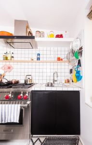 Baxter miniaturized all of the appliances so the kitchen wouldn't feel cramped.
