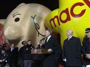 Mayor Bill de Blasio and Police Commissioner James O'Neill discuss security preparations for Macy's Thanksgiving Day Parade.