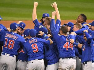 The Chicago Cubs celebrate after winning the 2016 World Series.