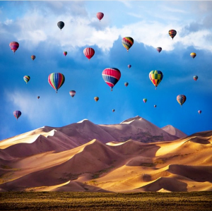 Hot air balloons in the nearby Great Sand Dunes National Park.