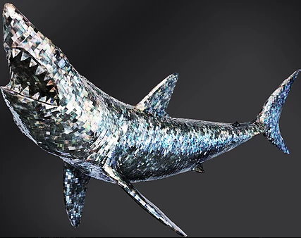 Look For Artist Kevin McHugh's Disco Sharks Hanging Over Club Goers in Ibiza
