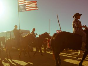 First Class Petty Officer Kash Jackson donned his dress blues on horseback in solidarity with #NoDAPL, the protest against the Dakota Access Pipleline