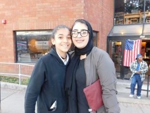 Hanen Hasan (right) and her cousin Baraa Harb outside of a Paterson polling location.
