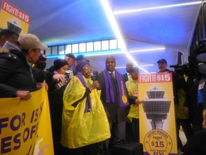 Baraka at the Newark Airport Fight for 15 rally.