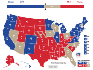 A map of the US showing the number of Electoral College votes per state, as well as the projected recipient of said votes.