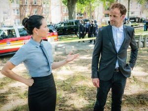 Lucy Liu as Joan Watson and Jonny Lee Miller as Sherlock Holmes.