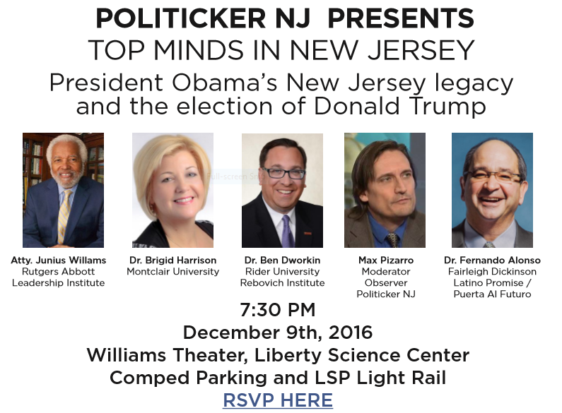 Make Sure to get in on PolitickerNJ's 'The Legacy of President Barack Obama in NJ'