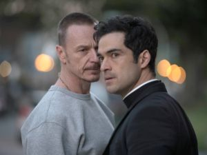 Ben Daniels and Alfonso Herrera in The Exorcist.