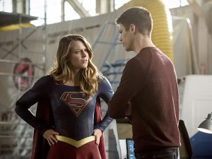 Melissa Benoist as Kara and Grant Gustin as Barry Allen.