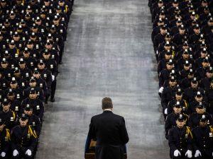 New York City Mayor Bill De Blasio speaks at the 2014 NYPD graduation ceremony.