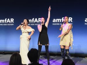 Charli XCX, Caroline Hjelt and Aino Jawo perform onstage during the 2016 amfAR New York Gala at Cipriani Wall Street on February 10, 2016.