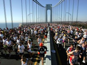 Runners stream over the Verrazano Narrows Bridge at the start of the New York City Marathon.