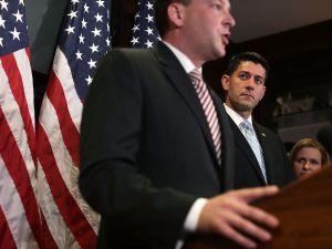 Congressman Lee Zeldin speaks as House Speaker Paul Ryan looks on.