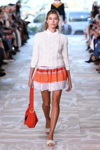 Pearl festooned slides at Tory Burch, as modeled by Hailey Baldwin.