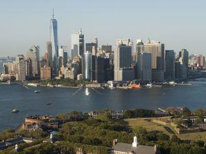 The skyline of lower Manhattan.